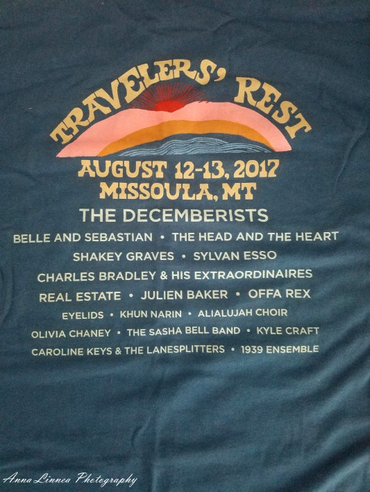 And the back, which make sense, as most t-shirts that have a front also have a back. This has a nice display of the lovely bands which performed at Travelers' Rest.